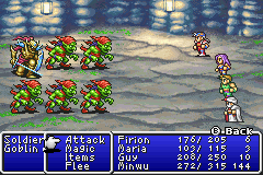 An enemy formation consisting of one Soldier and five Goblins